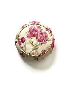 Meditation Yoga Cushion in Fuchsia  pink flowers with buckwheat hulls