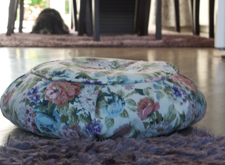 Chintzy Yoga Meditation Cushion Photo bombed by my dog