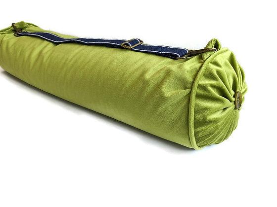 yoga bolster cushion in olive green velvet