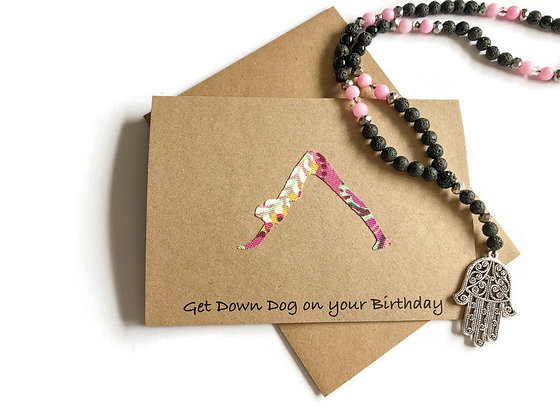 Yoga Birthday Card, Get Down Dog on Your Birthday, Handmade Yogi Card