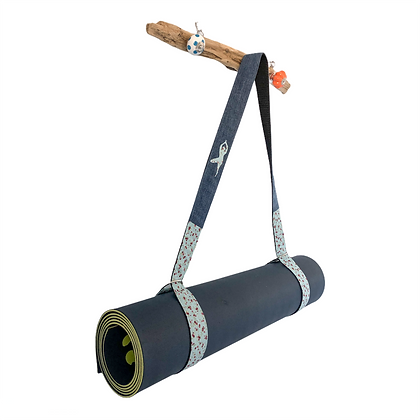yoga mat strap in ditsy blue and denim
