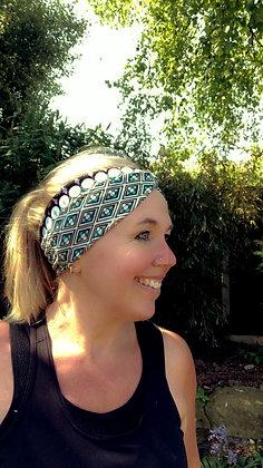 boho headband on person