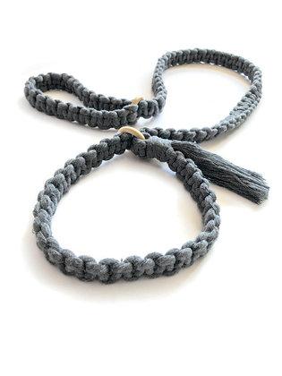macrame yoga mat strap in grey