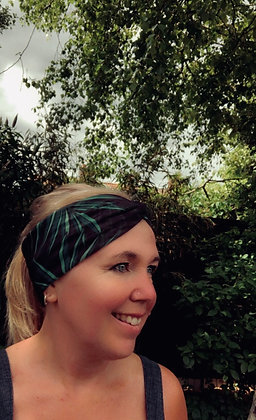 tropical leaves headband on person