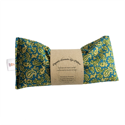 green and gold paisley eye pillow