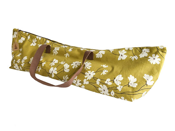 Olive Green Large Yoga Mat Bag with flowers