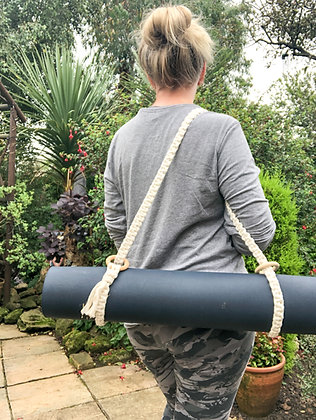 Macrame Yoga Mat Strap in Natural with Gold Fleck and wooden rings