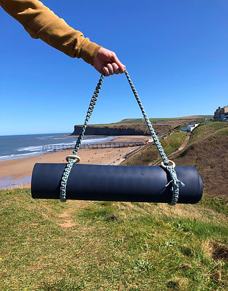 Macrame Yoga Mat Strap in Laurel Green with wooden rings