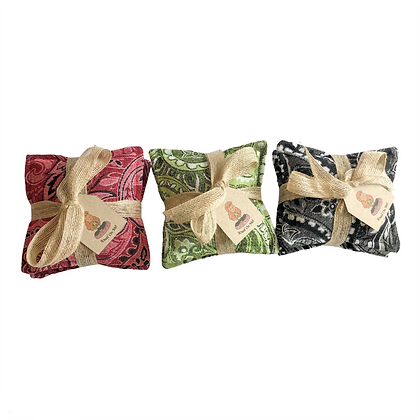 Yoga Knee Cushions Pads in Paisley Red, Green, Black Chenille with organic flax