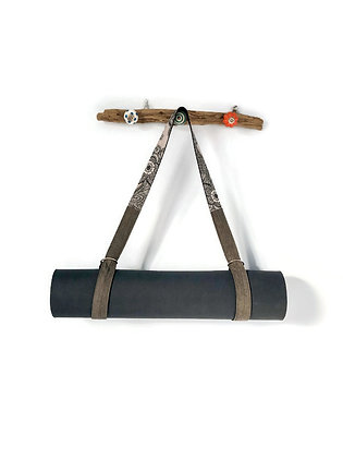 Yoga Mat Strap Sling in Dove Grey Paisley and Washed Denim