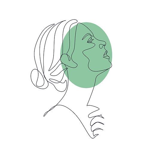 Green face | grafikás női fehér pamutpóló