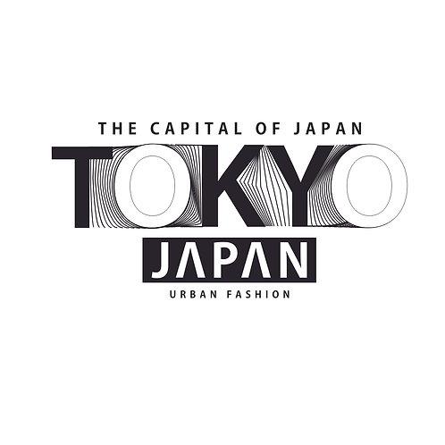 Tokyo | grafikás férfi fehér pamutpóló