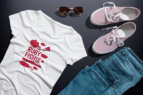 Ruby Fish Co | grafikás női fehér pamutpóló