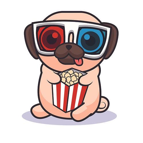 Puppy popcorn | grafikás női fehér pamutpóló