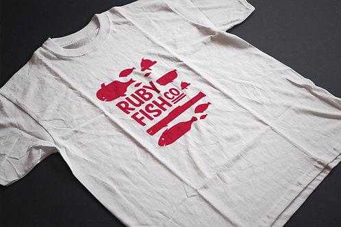 Ruby Fish Co | grafikás férfi fehér pamutpóló