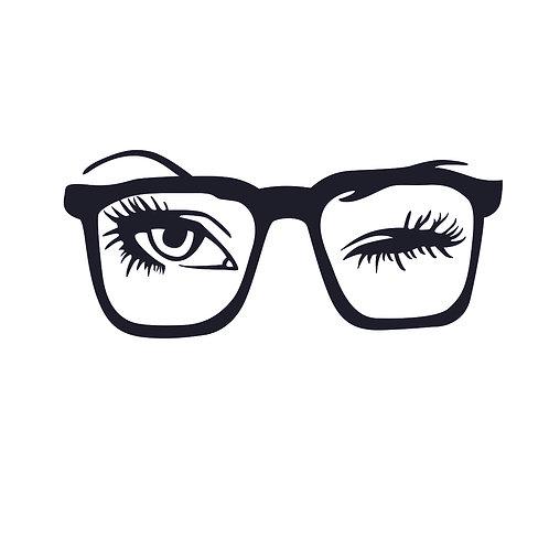 Glasses wink | grafikás női fehér pamutpóló