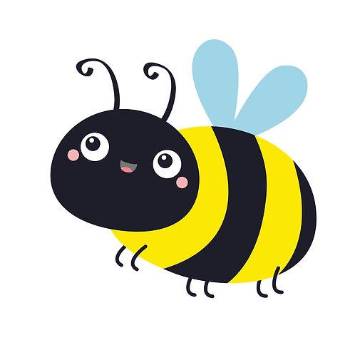 Bee happy   grafikás női fehér pamutpóló