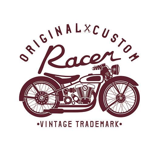 Racer | grafikás férfi fehér pamutpóló