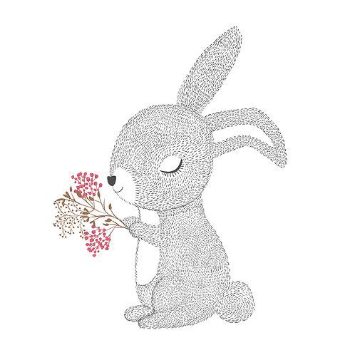 Bunny | grafikás női fehér pamutpóló