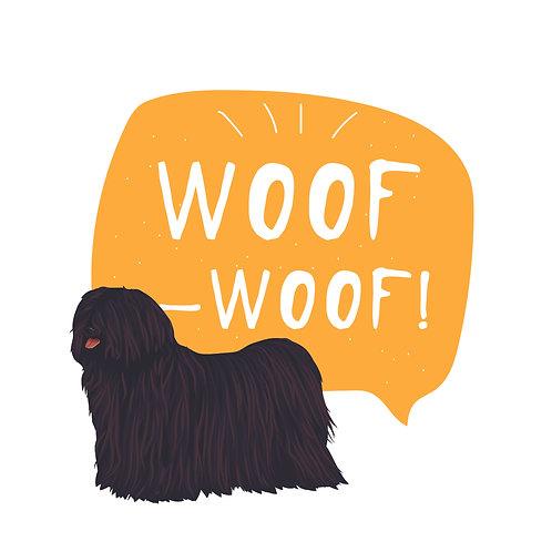 Puli woof | grafikás női fehér pamutpóló