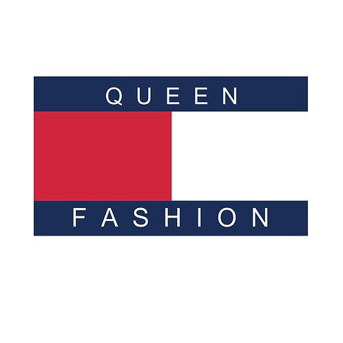 Queen fashion | grafikás női fehér pamutpóló