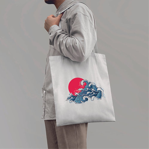 Japan wave   grafikás vászontáska