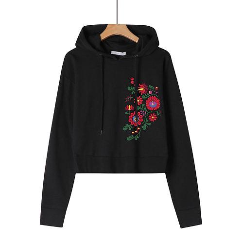 MATYO VIRAGOK | grafikás női rövid pulóver