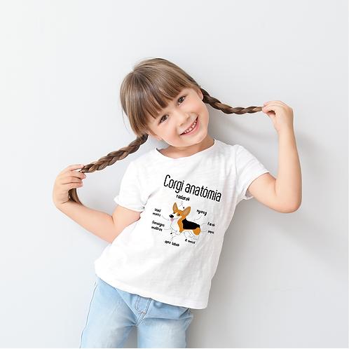 Corgi anatómia | kutyás grafika gyerek póló