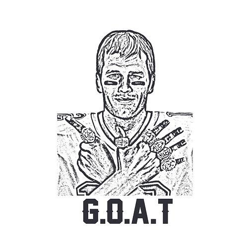 GOAT BRADY | grafikás férfi/női fehér pamutpóló