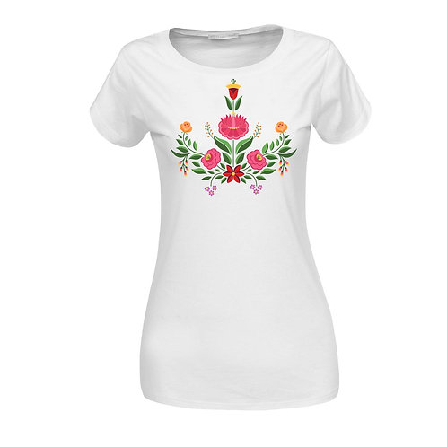 KALOCSAI Pink Rózsa| grafikás női pamutpóló