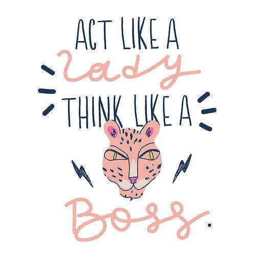 Think like a boss | grafikás női fehér pamutpóló