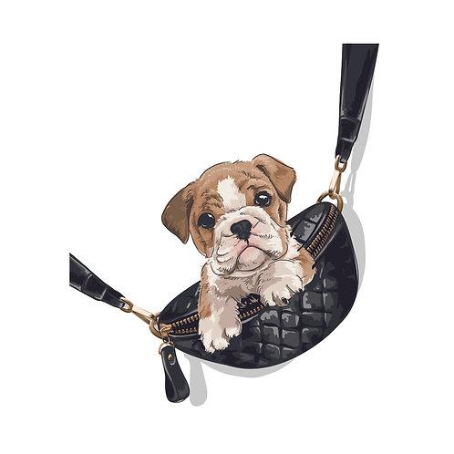 Dog in bag | grafikás női fehér pamutpóló