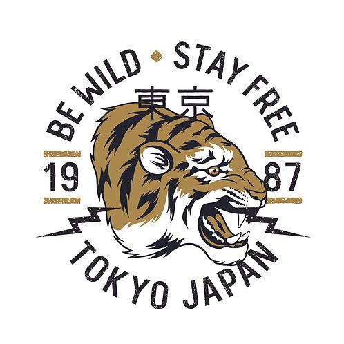 Tiger Tokyo | grafikás férfi fehér pamutpóló