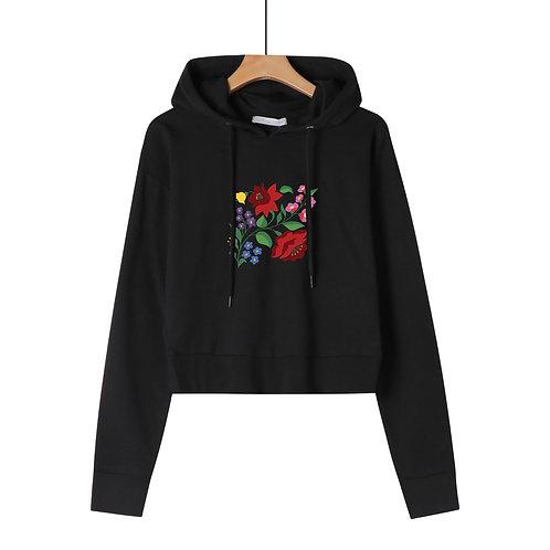 KALOCSAI Piros Rózsa  grafikás női rövid pulóver