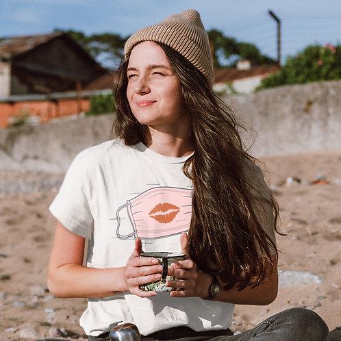 Maszk   grafikás női fehér pamutpóló