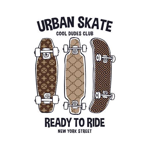 Urban skate   grafikás férfi fehér pamutpóló