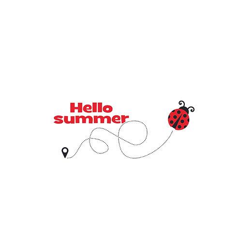 Ladybird summer | grafikás női fehér pamutpóló