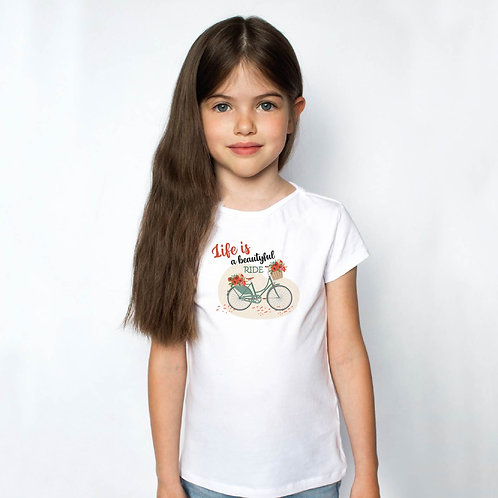 Life is beautiful   bicikli mintás kislány póló