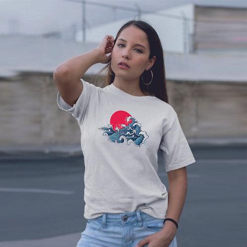 Japan wave | grafikás női pamutpóló