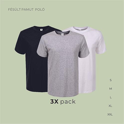 3X pack férfi T-shirt  | férfi pamutpoló
