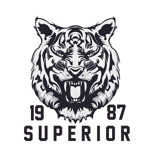 Tiger superior | grafikás férfi fehér pamutpóló