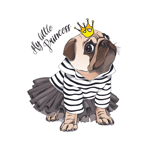 My little princess | grafikás női fehér pamutpóló