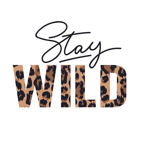 Stay wild   grafikás női fehér pamutpóló