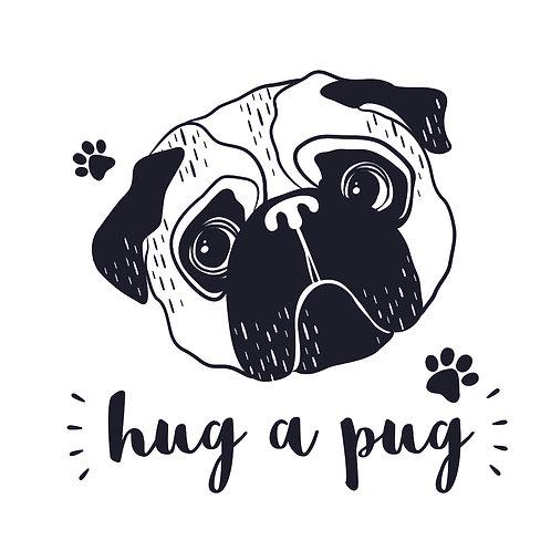 Hug a pug black | grafikás női fehér pamutpóló