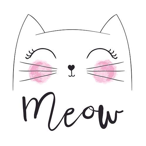 Meow | grafikás női fehér pamutpóló
