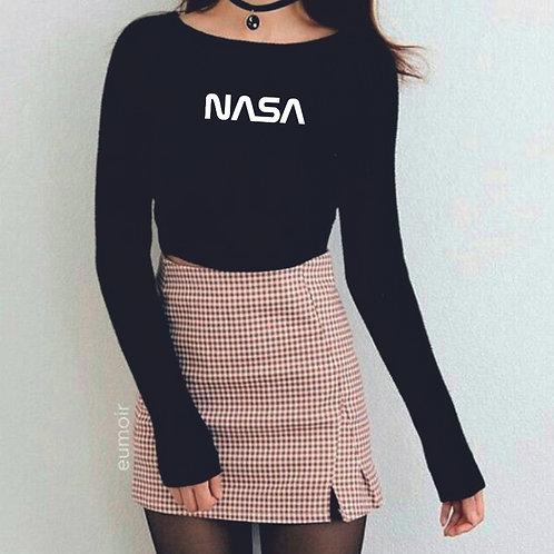 NASA | grafikás női hosszúujjú pamutpóló