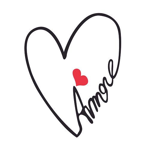 Amore   grafikás női fehér pamutpóló