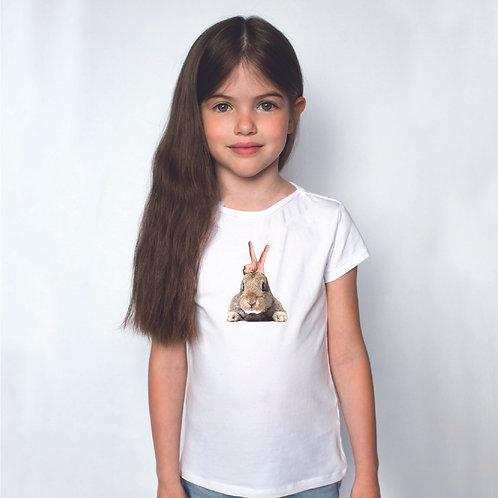 Nyuszifül   grafikás kislány pamutpoló