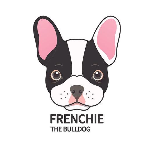 Frenchie | grafikás női fehér pamutpóló