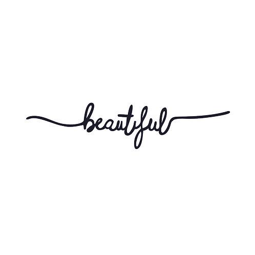Beautiful | grafikás női fehér pamutpóló